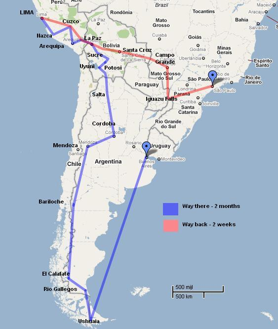 itinerary south-america