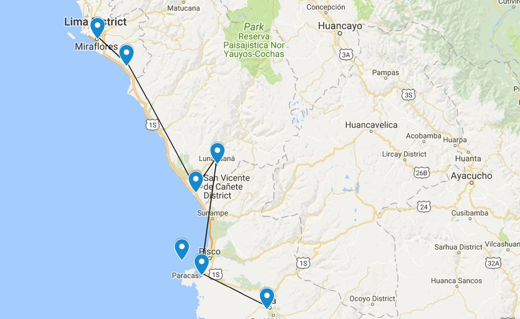 A Map of my trip to the sur chico