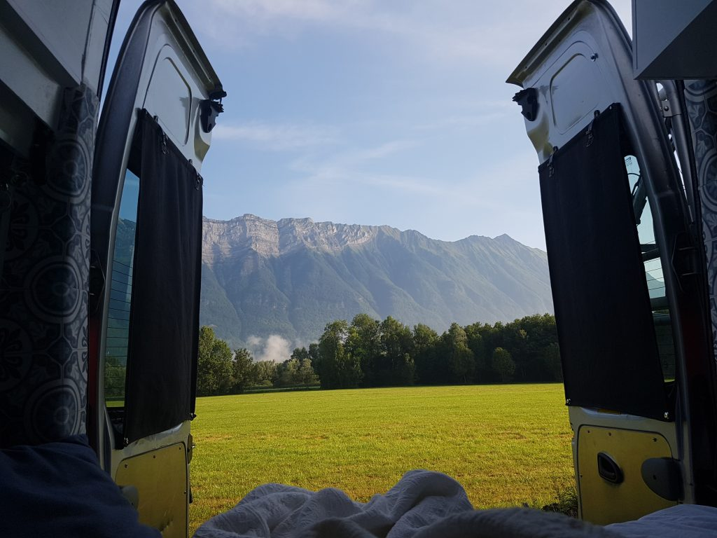 Free camping spot at the Aire de Camping Cars in Bourgneuf