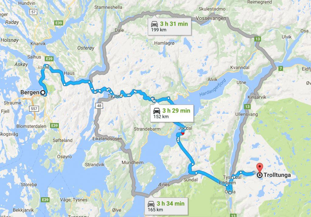 From Bergen to Trolltunga Hike Norway