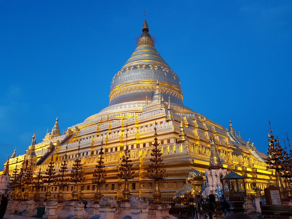 The Shwezigon Paya, one of the most amazing temples in Bagan - especially at night!